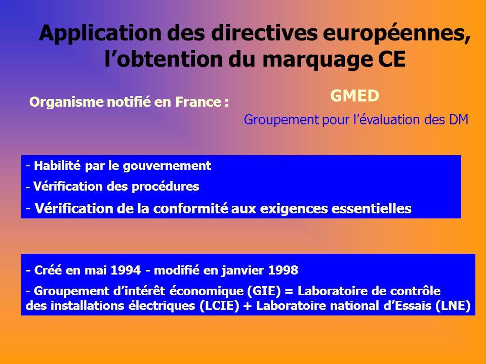 Application des directives européennes, l'obtention du marquage CE