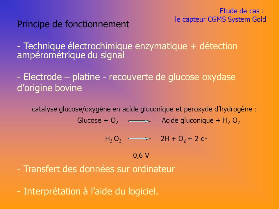 catalyse glucose/oxygène en acide gluconique et peroxyde d'hydrogène :