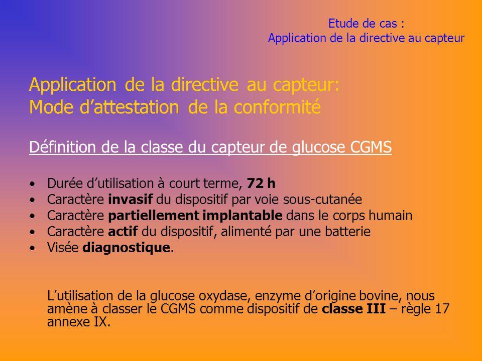 Etude de cas : Application de la directive au capteur