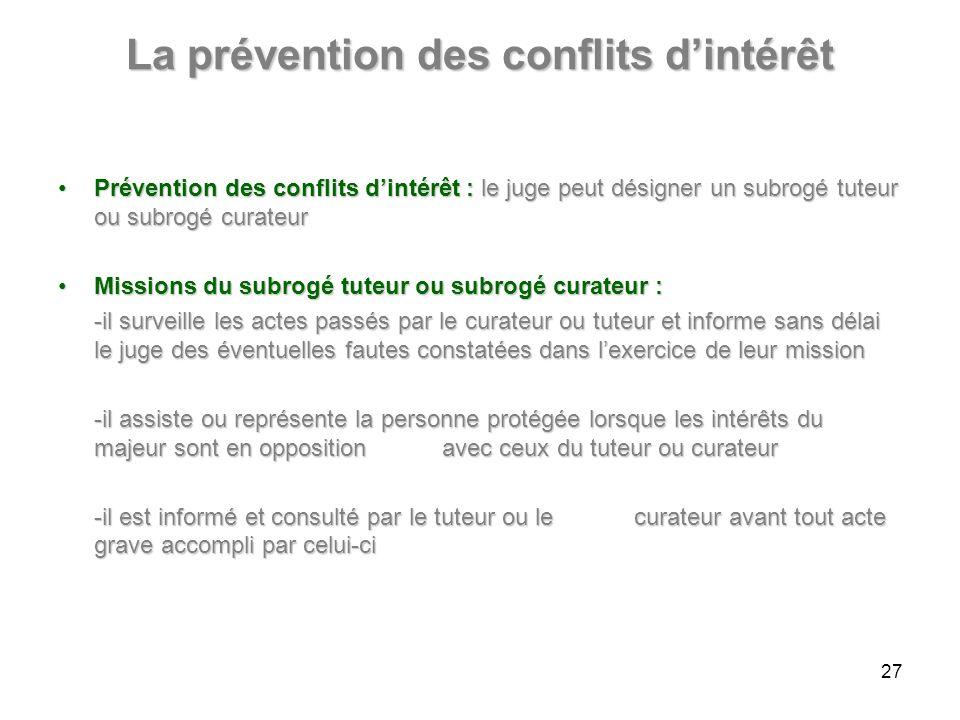 La prévention des conflits d'intérêt