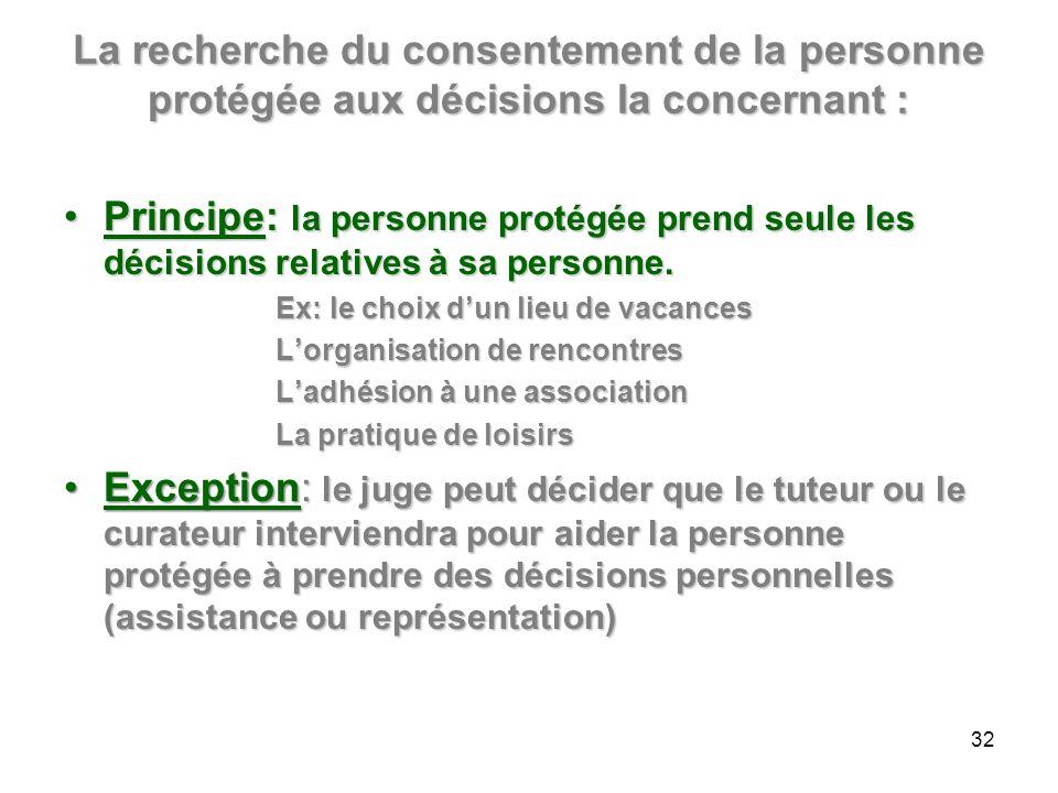 La recherche du consentement de la personne protégée aux décisions la concernant :