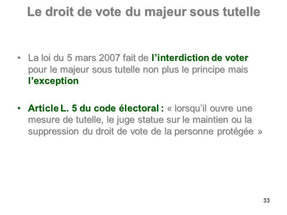 Le droit de vote du majeur sous tutelle