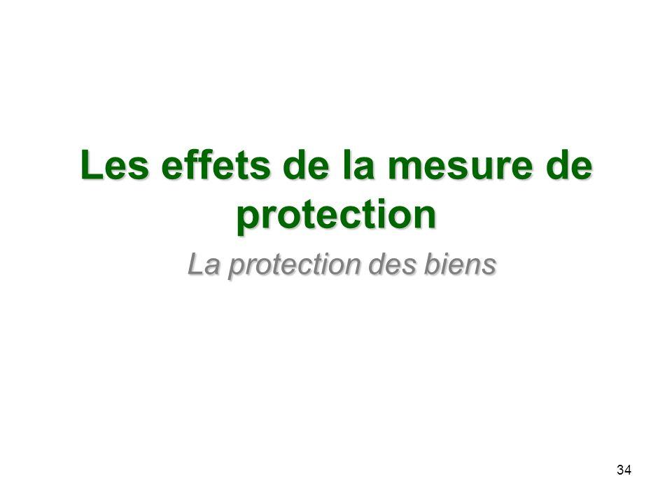 Les effets de la mesure de protection La protection des biens