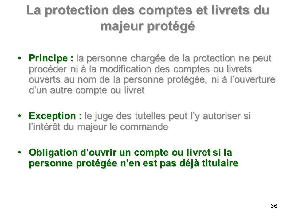 La protection des comptes et livrets du majeur protégé