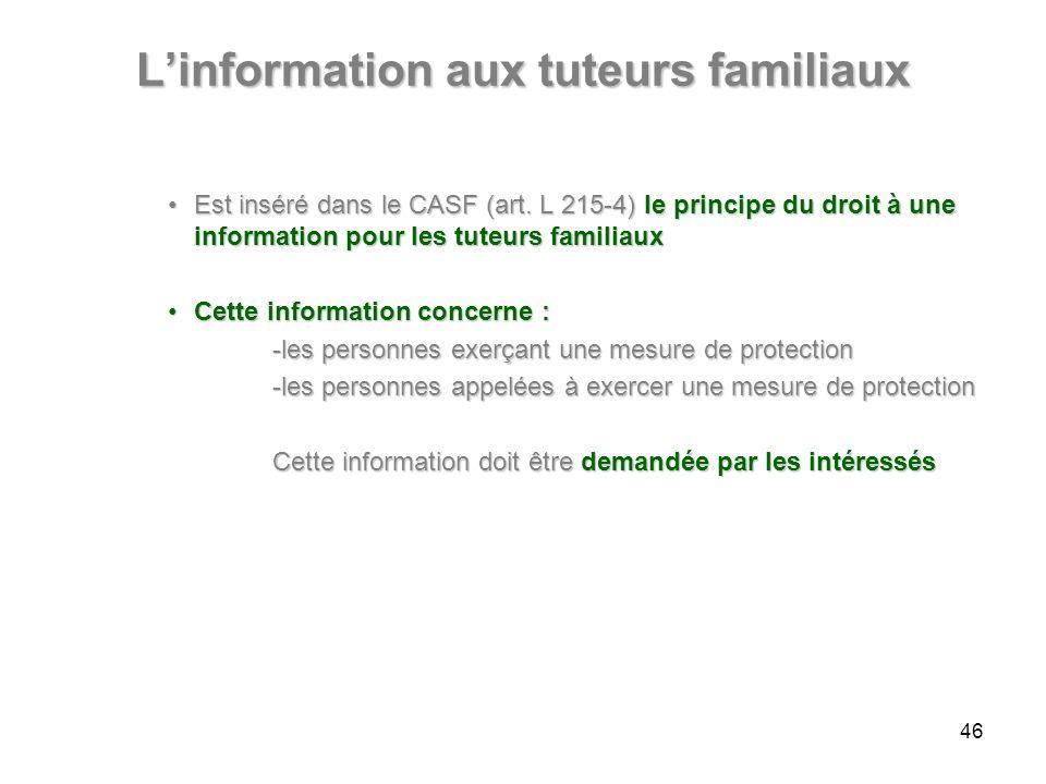 L'information aux tuteurs familiaux