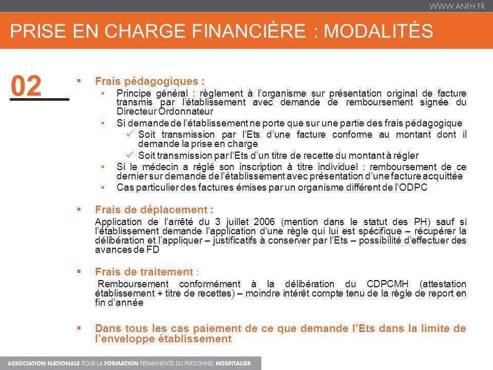 prise en charge financière : modalités