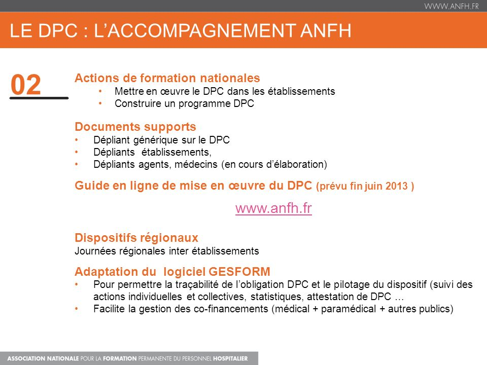 le dpc : l'ACCOMPAGNEMENT ANFH