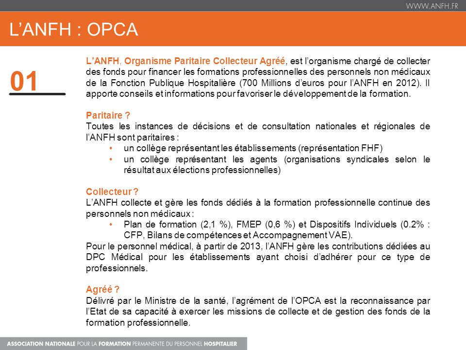 L'ANFH : OPCA