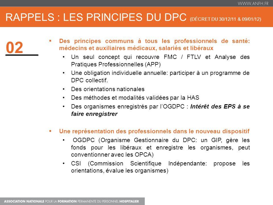 rappels : les principes du dpc (décret du 30/12/11 & 09/01/12)