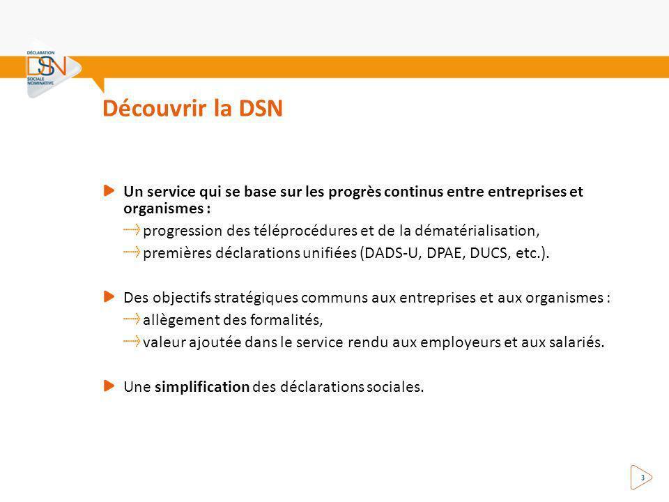 Découvrir la DSN Un service qui se base sur les progrès continus entre entreprises et organismes :
