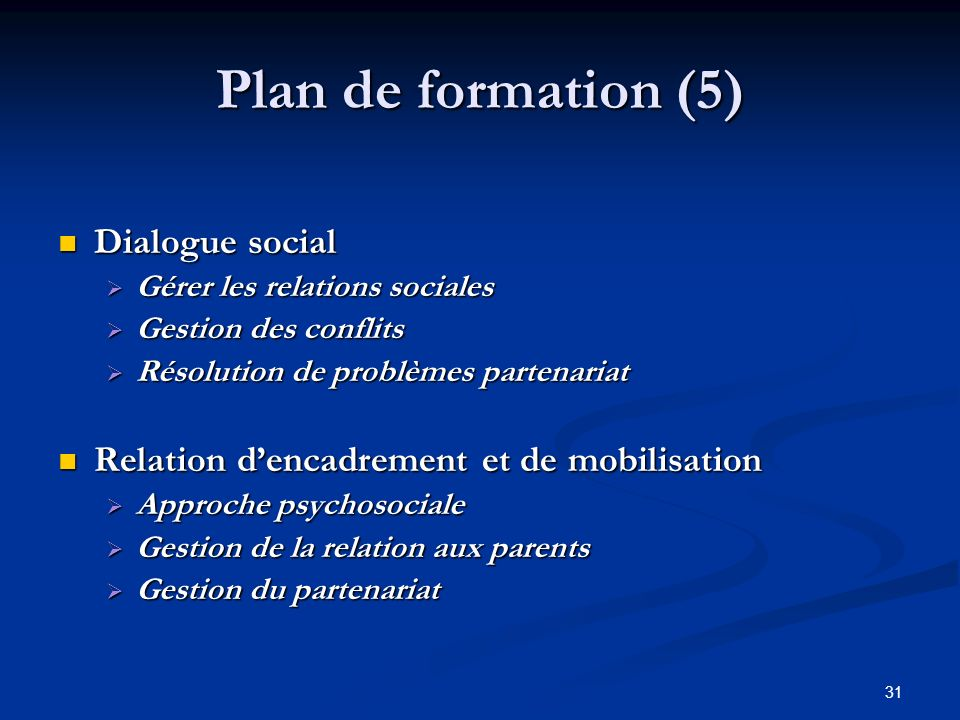 Plan de formation (5) Dialogue social