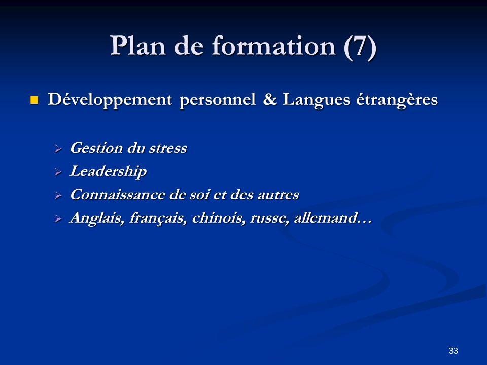 Plan de formation (7) Développement personnel & Langues étrangères