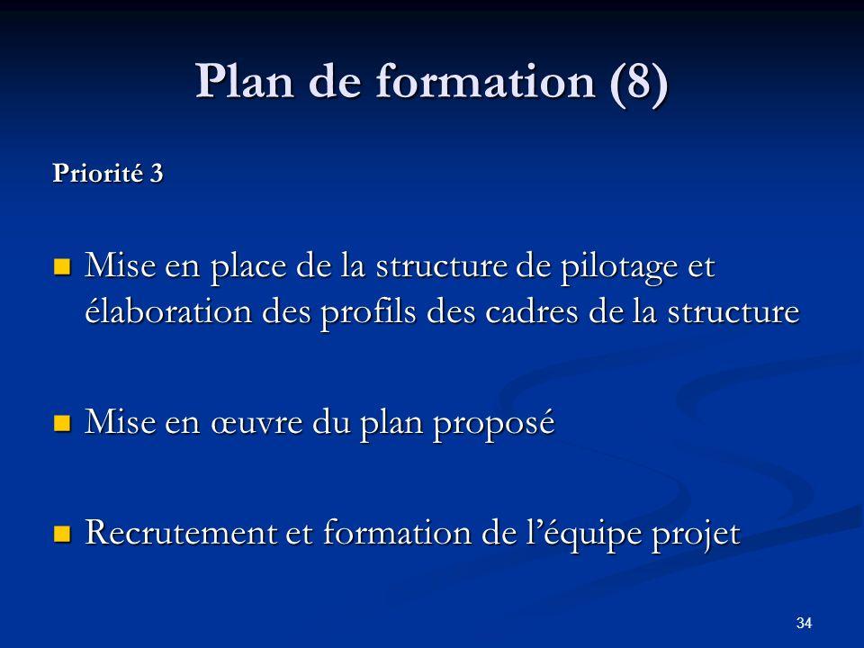 Plan de formation (8) Priorité 3. Mise en place de la structure de pilotage et élaboration des profils des cadres de la structure.
