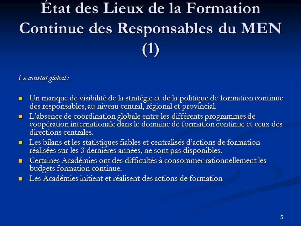 État des Lieux de la Formation Continue des Responsables du MEN (1)