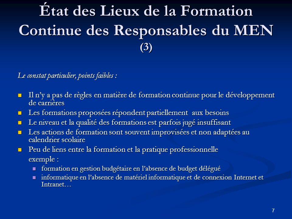État des Lieux de la Formation Continue des Responsables du MEN (3)