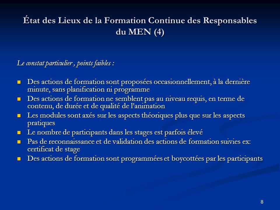 État des Lieux de la Formation Continue des Responsables du MEN (4)