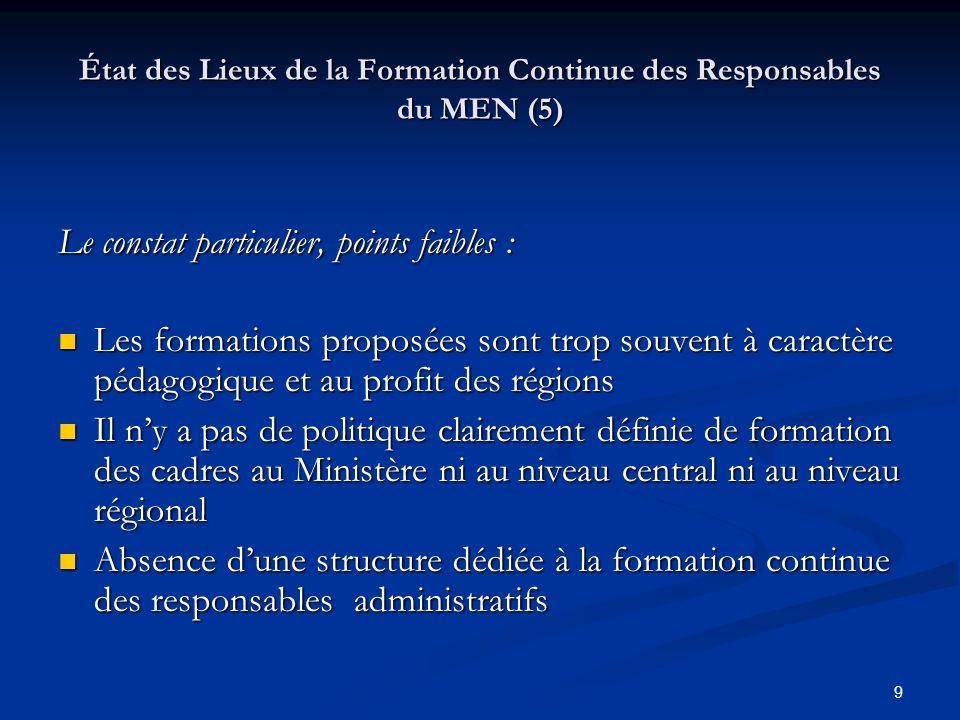 État des Lieux de la Formation Continue des Responsables du MEN (5)