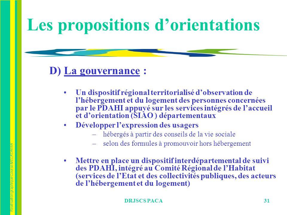 Les propositions d'orientations
