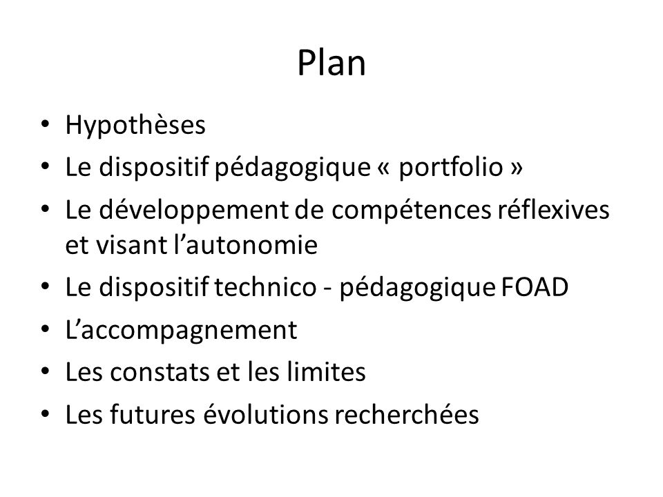 Plan Hypothèses Le dispositif pédagogique « portfolio »