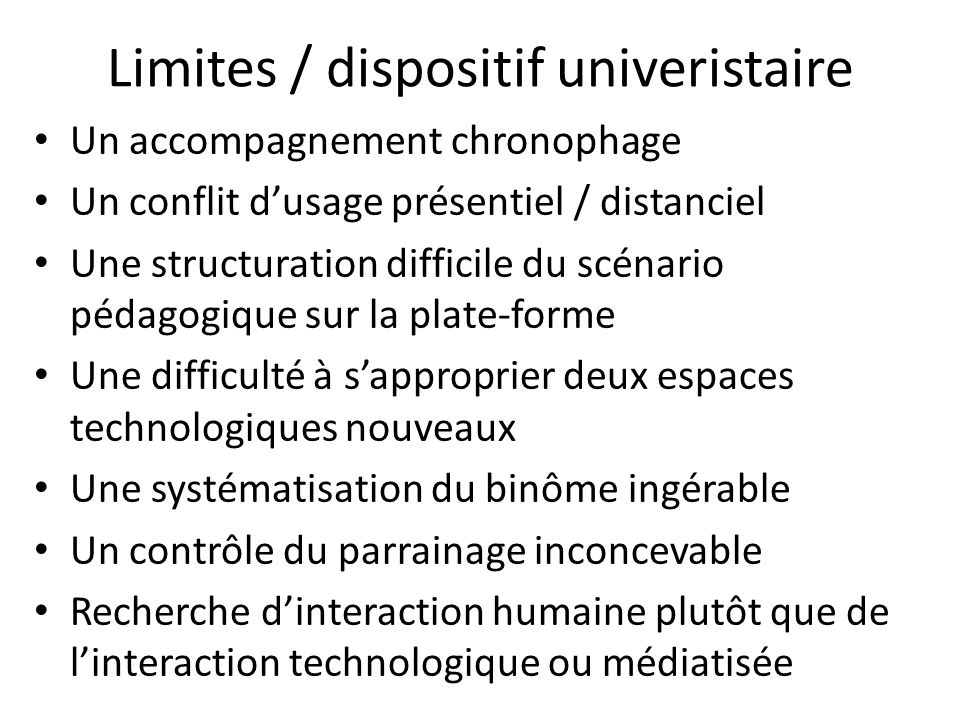 Limites / dispositif univeristaire
