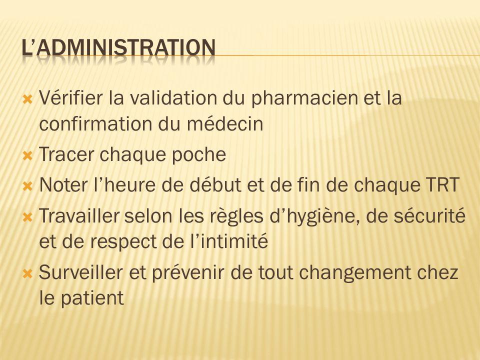 L'ADMINISTRATION Vérifier la validation du pharmacien et la confirmation du médecin. Tracer chaque poche.