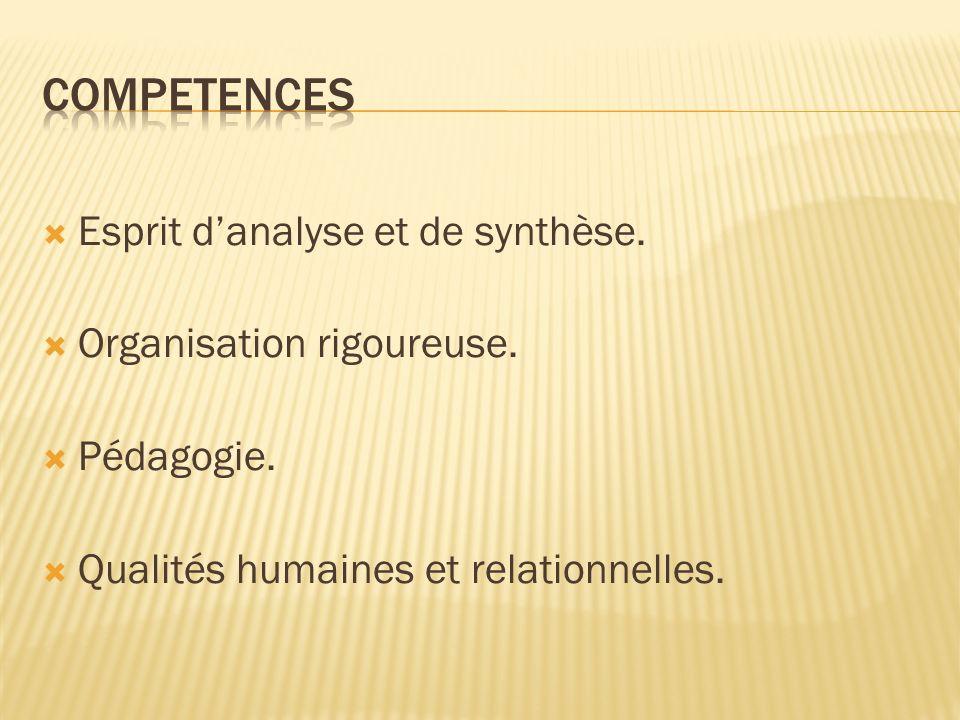 COMPETENCES Esprit d'analyse et de synthèse. Organisation rigoureuse.