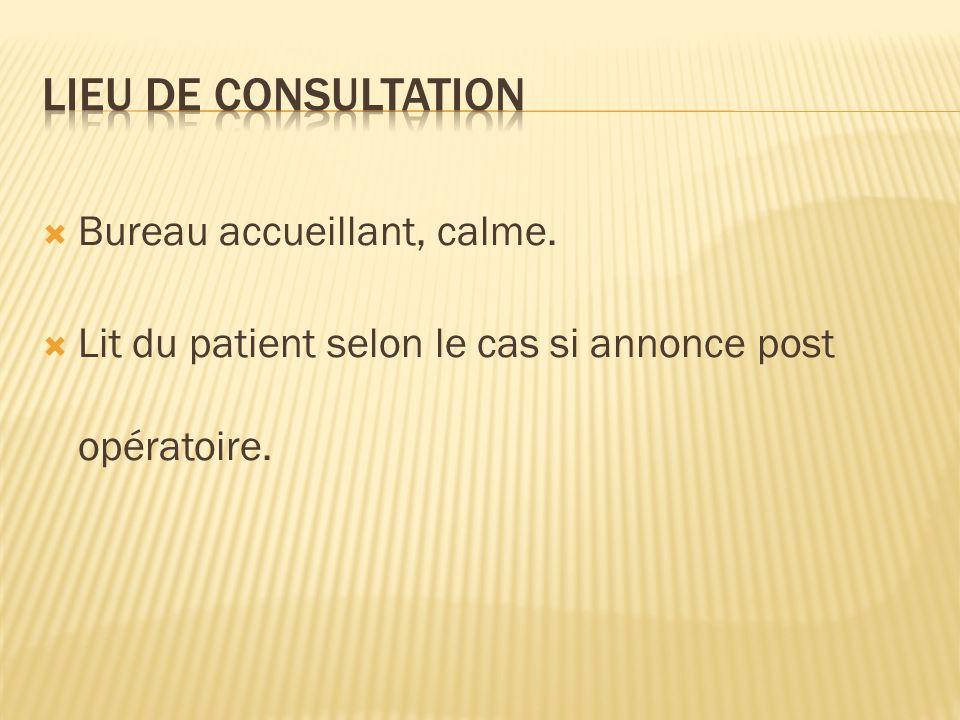 LIEU DE CONSULTATION Bureau accueillant, calme.