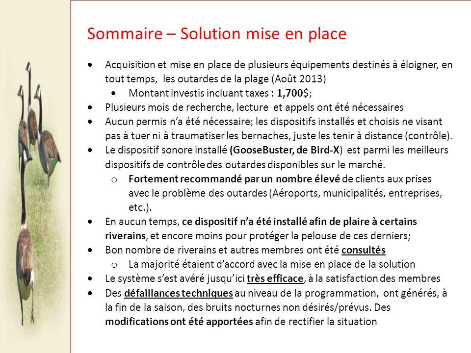 Sommaire – Solution mise en place
