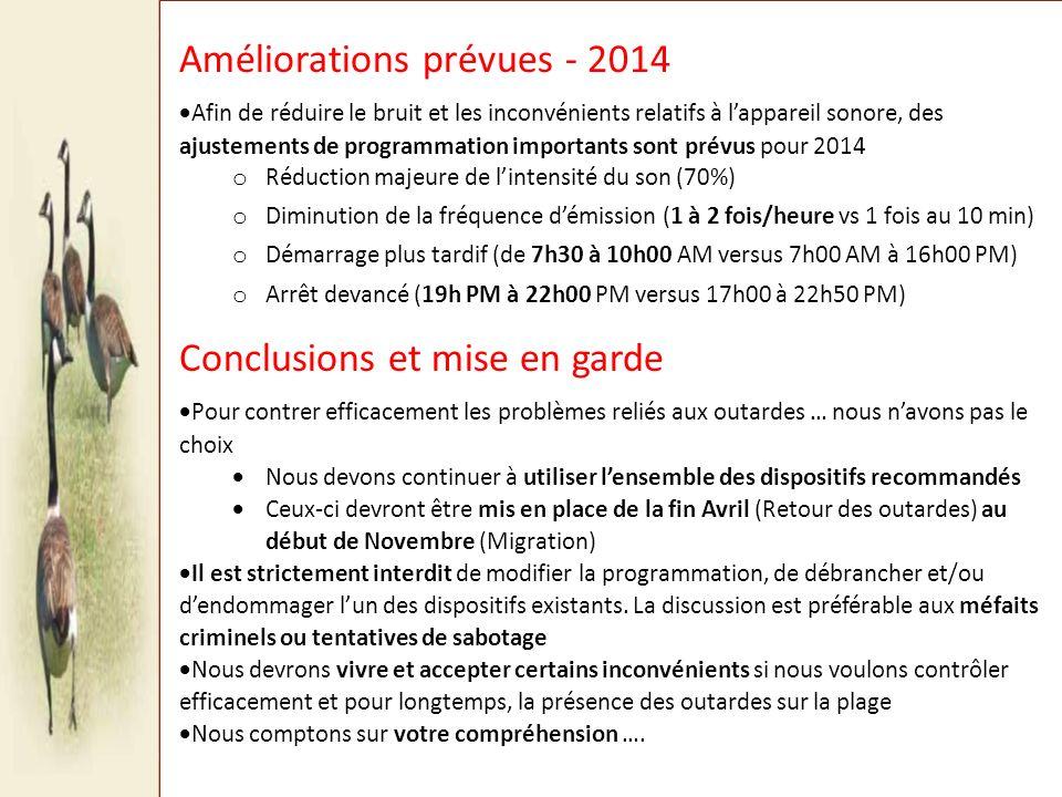 Améliorations prévues - 2014