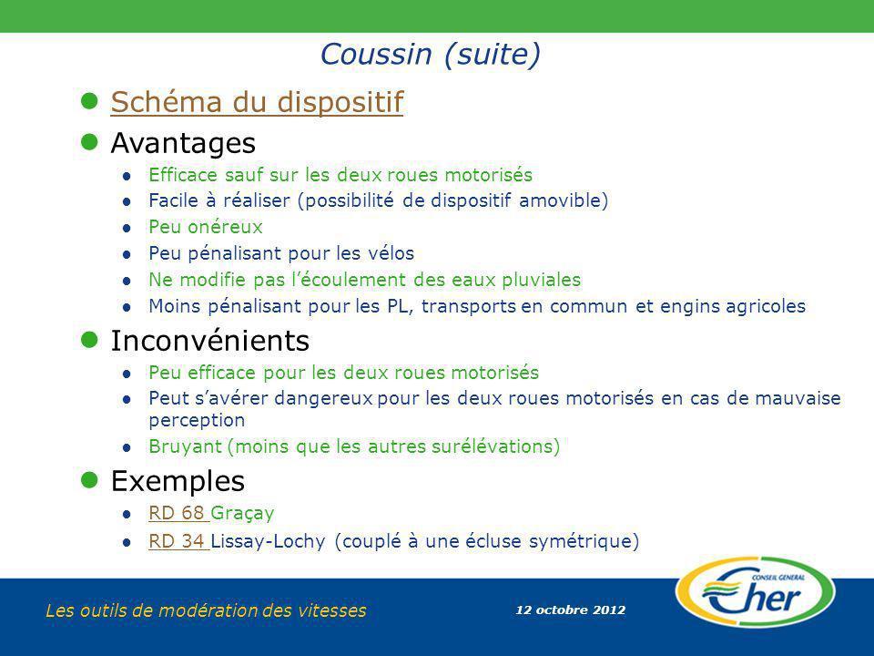 Coussin (suite) Schéma du dispositif Avantages Inconvénients Exemples