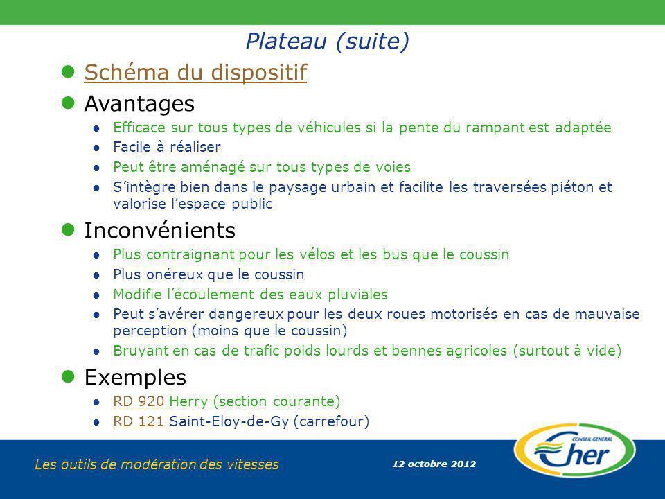 Plateau (suite) Schéma du dispositif Avantages Inconvénients Exemples
