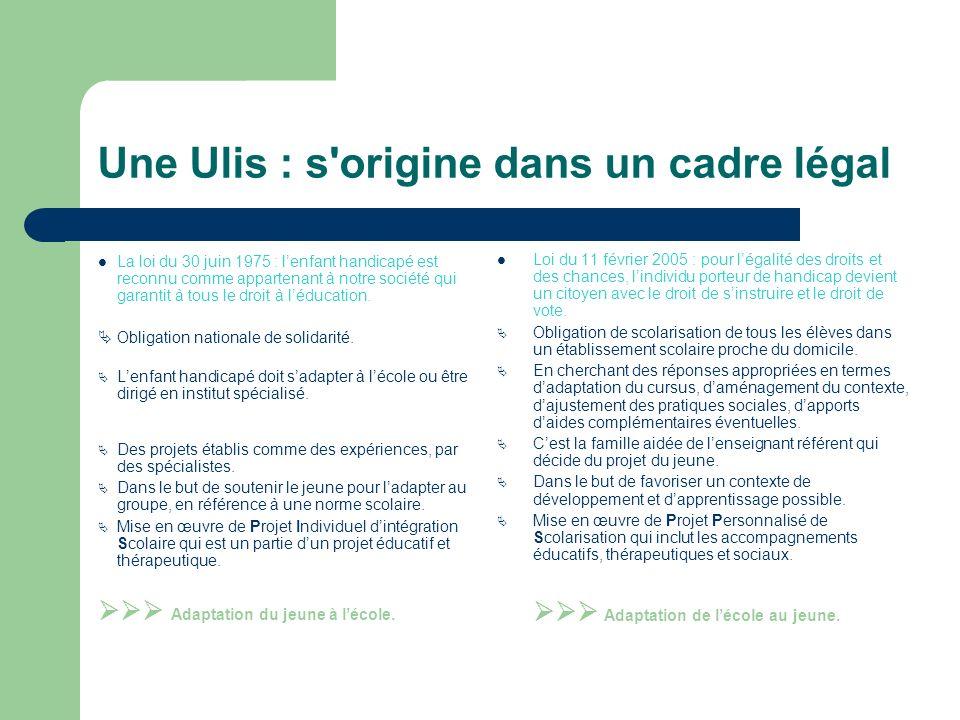 Une Ulis : s origine dans un cadre légal