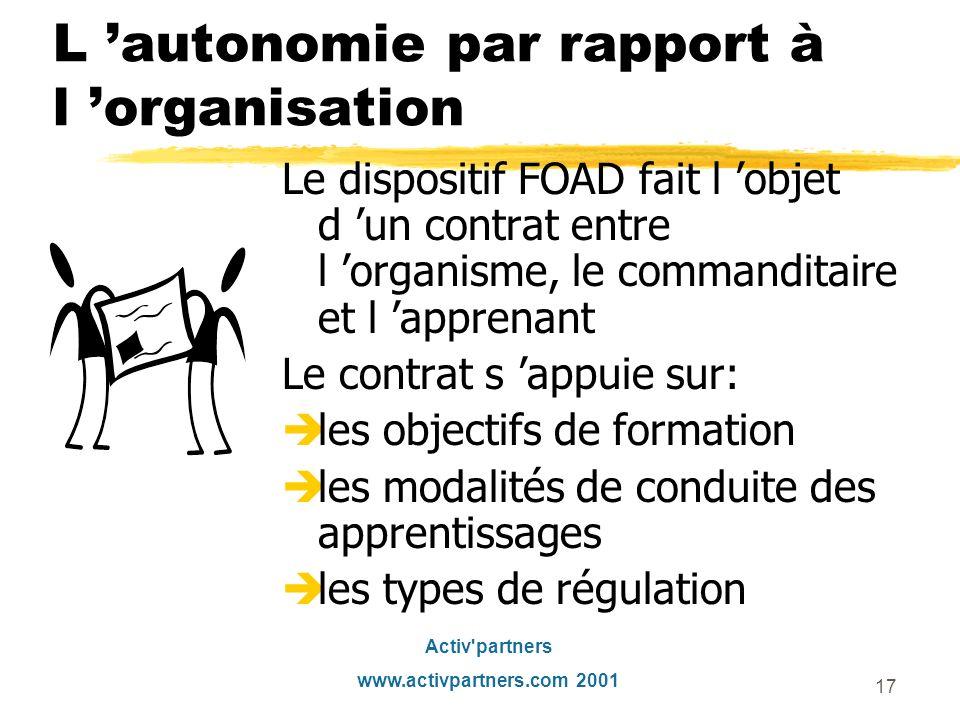 L 'autonomie par rapport à l 'organisation