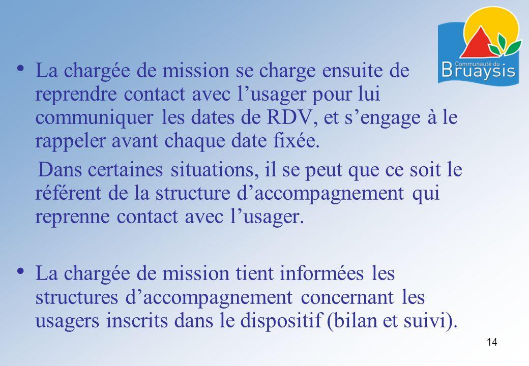 La chargée de mission se charge ensuite de reprendre contact avec l'usager pour lui communiquer les dates de RDV, et s'engage à le rappeler avant chaque date fixée.