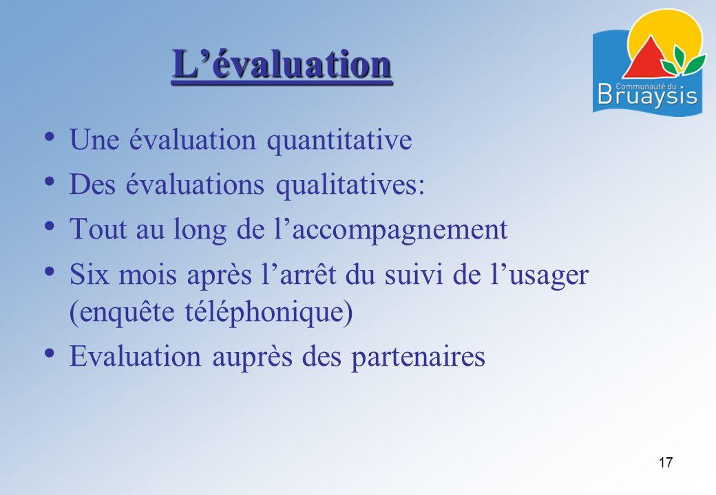 L'évaluation Une évaluation quantitative Des évaluations qualitatives: