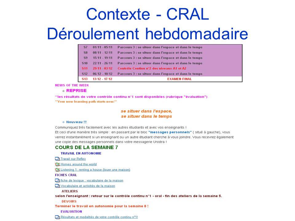Contexte - CRAL Déroulement hebdomadaire
