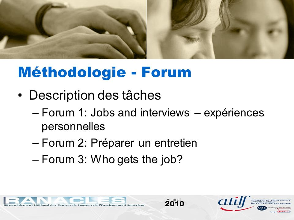 Méthodologie - Forum Description des tâches