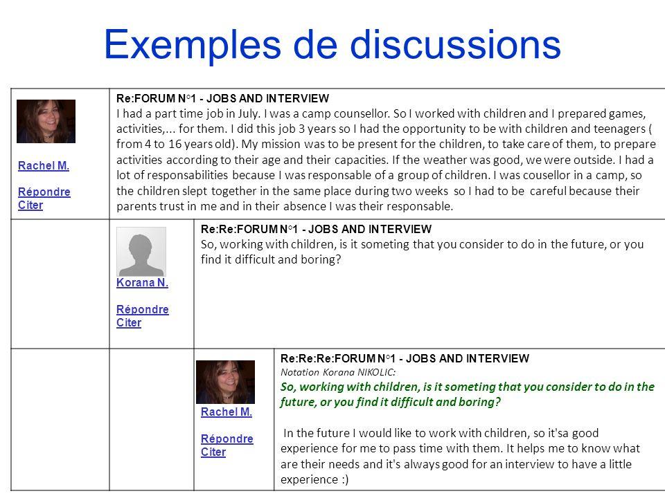 Exemples de discussions