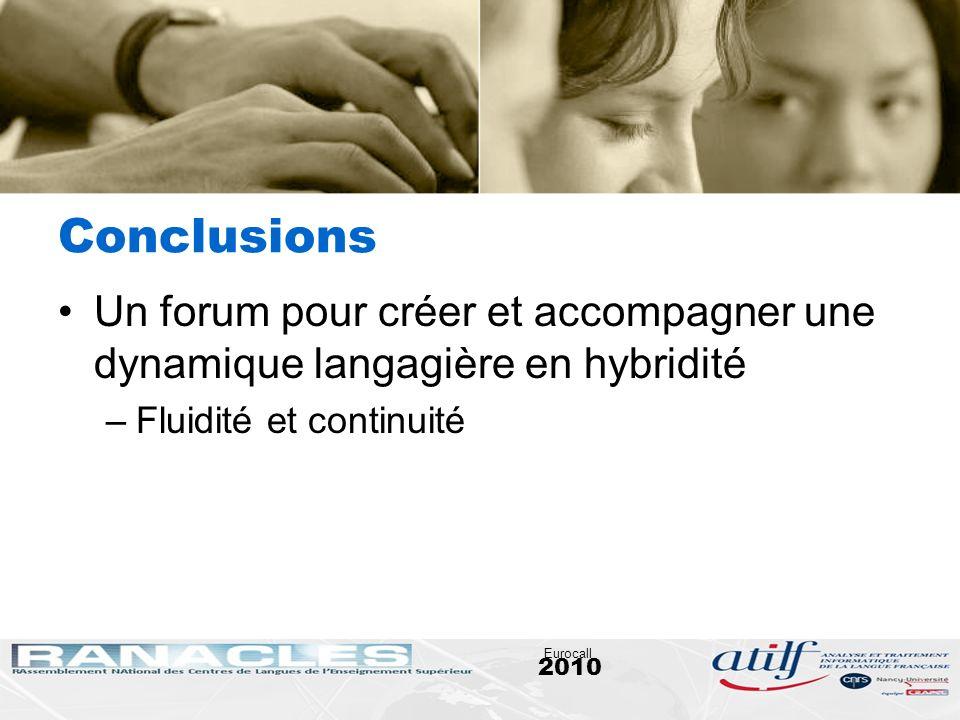 Conclusions Un forum pour créer et accompagner une dynamique langagière en hybridité. Fluidité et continuité.