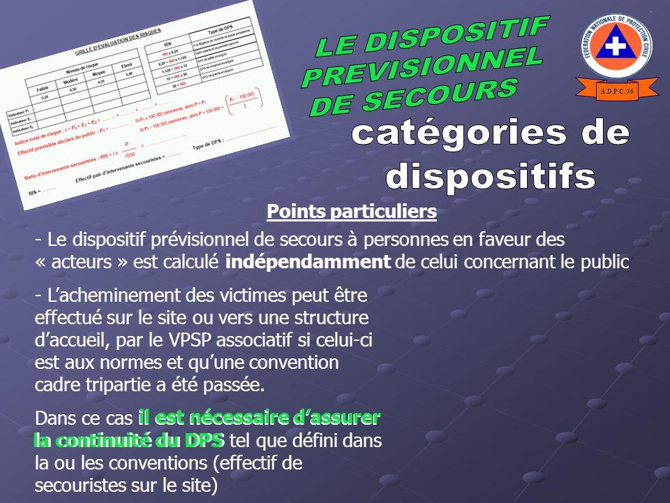 catégories de dispositifs LE DISPOSITIF PREVISIONNEL DE SECOURS