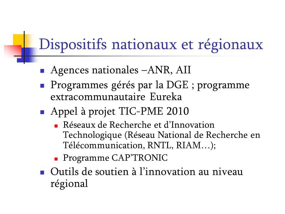 Dispositifs nationaux et régionaux