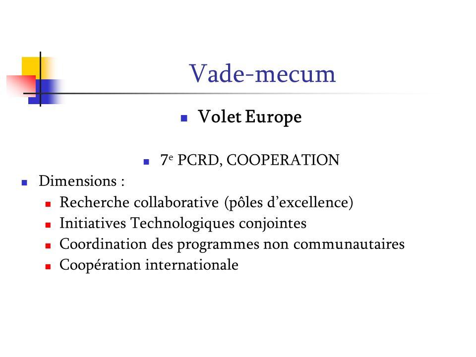 Vade-mecum Volet Europe 7e PCRD, COOPERATION Dimensions :