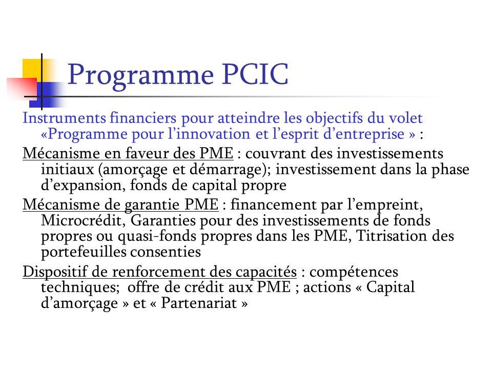 Programme PCIC Instruments financiers pour atteindre les objectifs du volet «Programme pour l'innovation et l'esprit d'entreprise » :