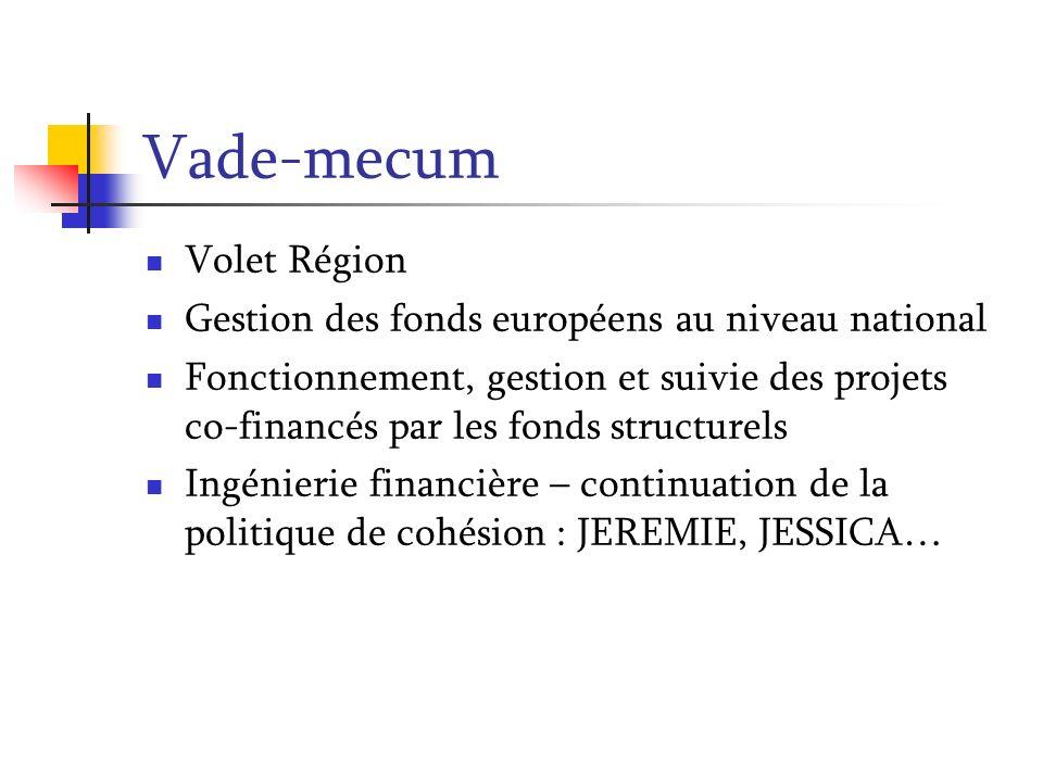 Vade-mecum Volet Région Gestion des fonds européens au niveau national