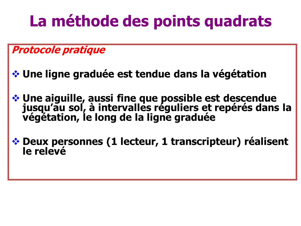 La méthode des points quadrats
