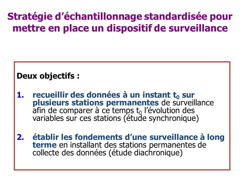 Stratégie d'échantillonnage standardisée pour mettre en place un dispositif de surveillance