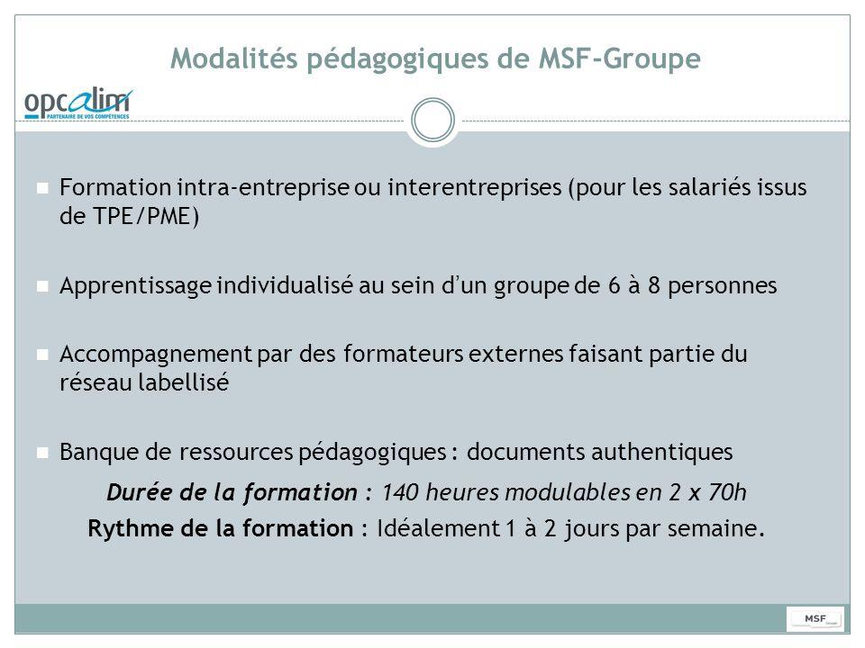 Modalités pédagogiques de MSF-Groupe