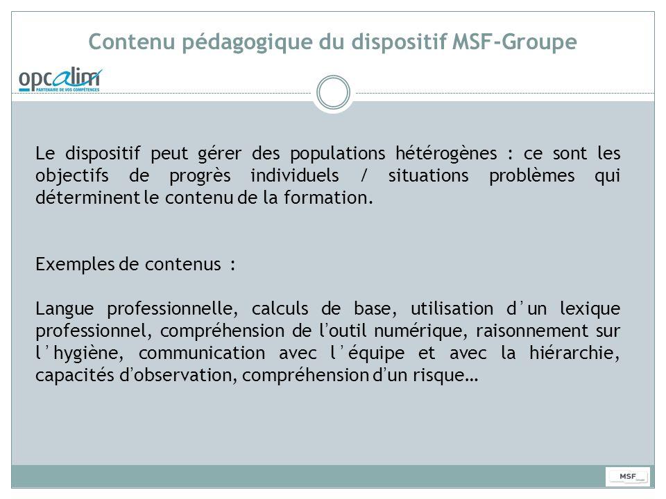 Contenu pédagogique du dispositif MSF-Groupe