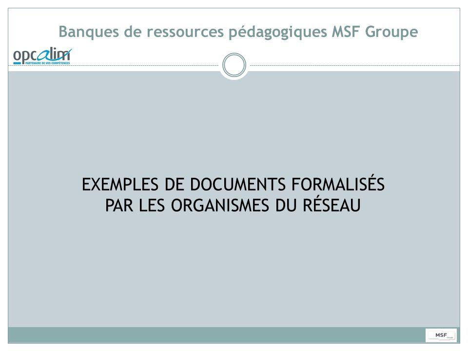 Banques de ressources pédagogiques MSF Groupe