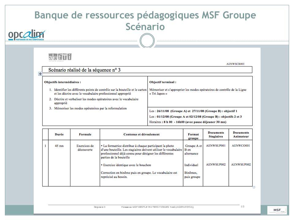 Banque de ressources pédagogiques MSF Groupe Scénario